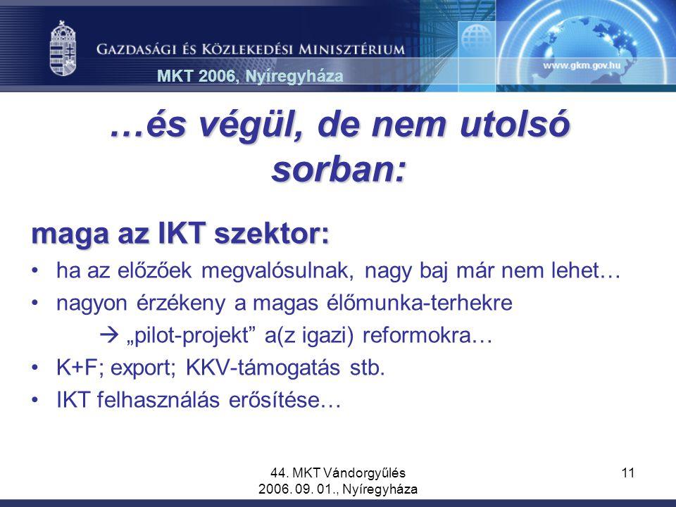 44. MKT Vándorgyűlés 2006. 09. 01., Nyíregyháza 11 …és végül, de nem utolsó sorban: maga az IKT szektor: ha az előzőek megvalósulnak, nagy baj már nem