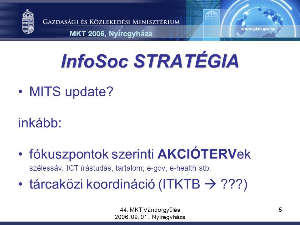 44. MKT Vándorgyűlés 2006. 09. 01., Nyíregyháza 5 InfoSoc STRATÉGIA MITS update? inkább: fókuszpontok szerinti AKCIÓTERVek szélessáv, ICT írástudás, t