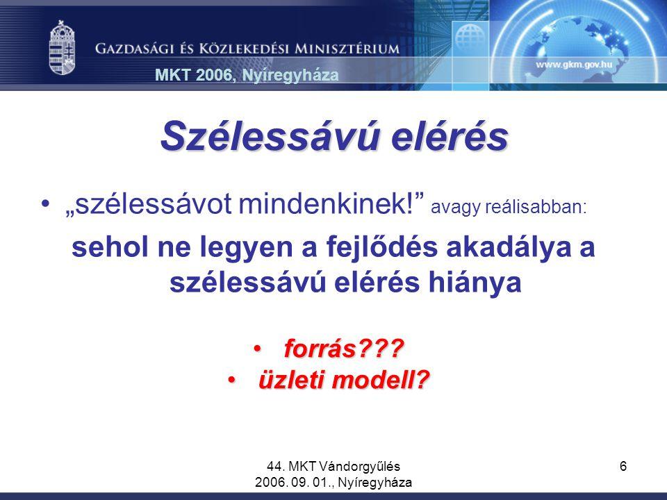"""44. MKT Vándorgyűlés 2006. 09. 01., Nyíregyháza 6 Szélessávú elérés """"szélessávot mindenkinek!"""" avagy reálisabban: sehol ne legyen a fejlődés akadálya"""