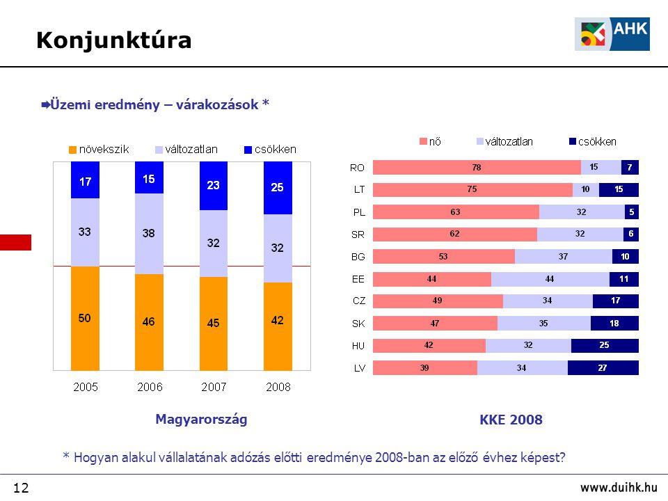 12  Üzemi eredmény – várakozások * * Hogyan alakul vállalatának adózás előtti eredménye 2008-ban az előző évhez képest? Magyarország KKE 2008 Konjunk