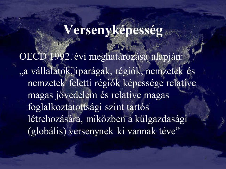 """Versenyképesség OECD 1992. évi meghatározása alapján: """"a vállalatok, iparágak, régiók, nemzetek és nemzetek feletti régiók képessége relatíve magas jö"""
