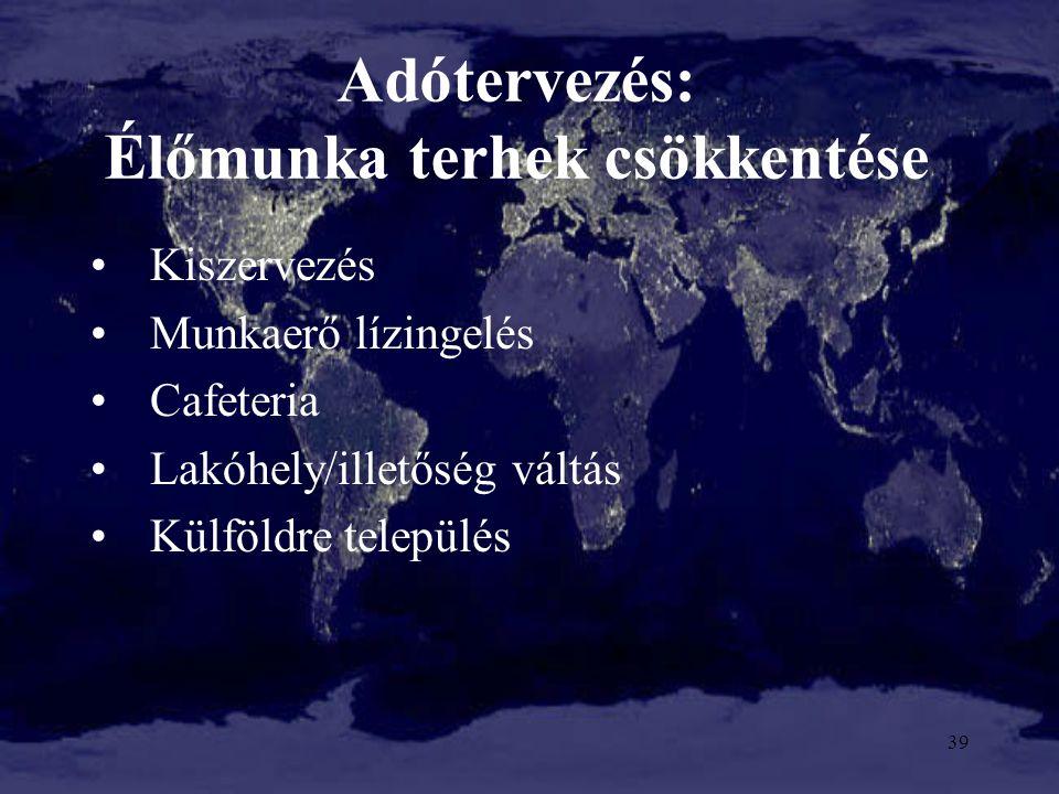 Adótervezés: Élőmunka terhek csökkentése Kiszervezés Munkaerő lízingelés Cafeteria Lakóhely/illetőség váltás Külföldre település 39
