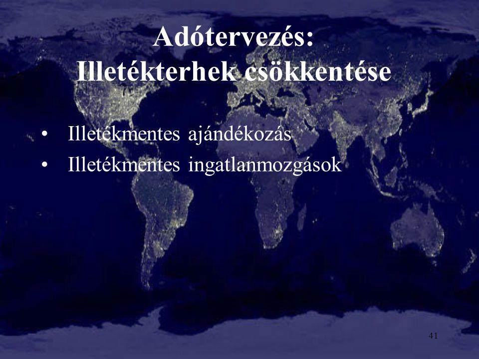 Adótervezés: Illetékterhek csökkentése Illetékmentes ajándékozás Illetékmentes ingatlanmozgások 41