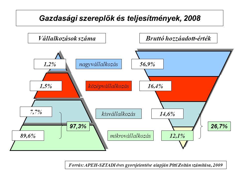 Gazdasági szereplők és teljesítmények, 2008 Vállalkozások számaBruttó hozzáadott-érték 1,2%nagyvállalkozás középvállalkozás kisvállalkozás mikrovállalkozás12,1% 1,5% 7,7% 89,6% 14,6% 16,4% 56,9% Forrás: APEH-SZTADI éves gyorsjelentése alapján Pitti Zoltán számítása, 2009 97,3%26,7%