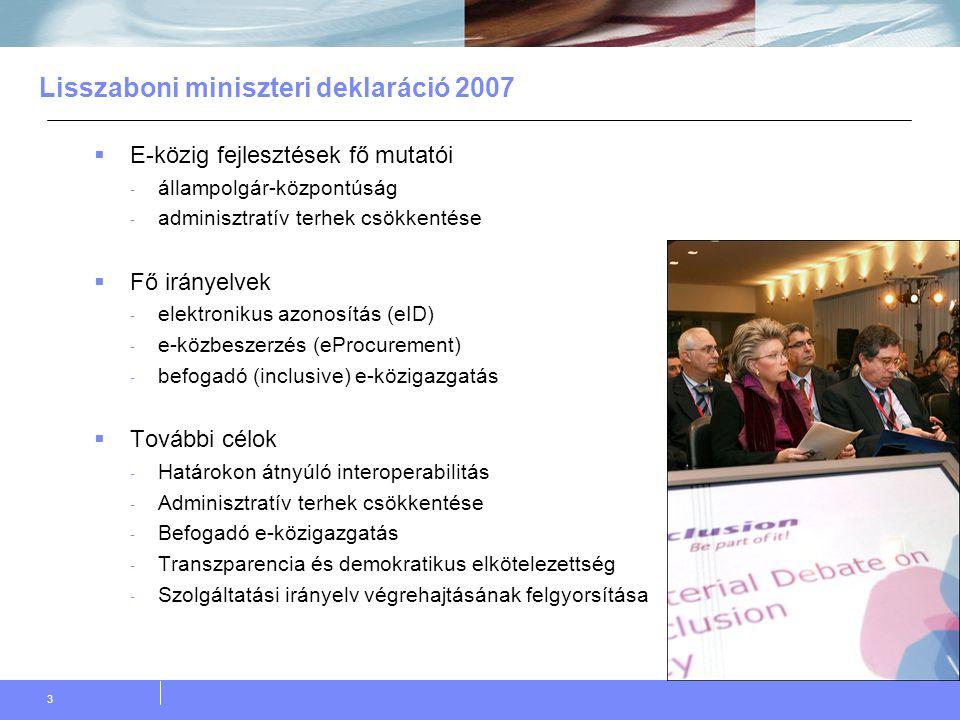 3 Lisszaboni miniszteri deklaráció 2007  E-közig fejlesztések fő mutatói - állampolgár-központúság - adminisztratív terhek csökkentése  Fő irányelvek - elektronikus azonosítás (eID) - e-közbeszerzés (eProcurement) - befogadó (inclusive) e-közigazgatás  További célok - Határokon átnyúló interoperabilitás - Adminisztratív terhek csökkentése - Befogadó e-közigazgatás - Transzparencia és demokratikus elkötelezettség - Szolgáltatási irányelv végrehajtásának felgyorsítása