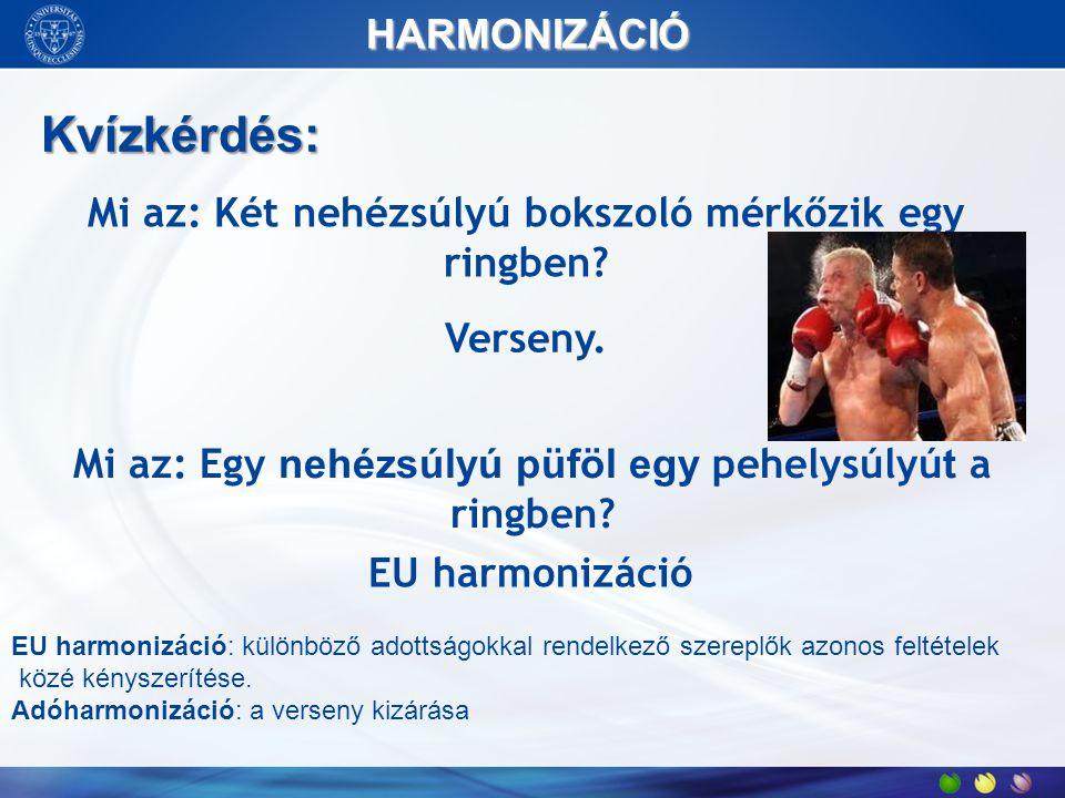 Mi az: Két nehézsúlyú bokszoló mérkőzik egy ringben? Verseny. Mi az: Egy nehézsúlyú püföl egy pehelysúlyú t a ringben? EU harmonizáció Kvízkérdés: HAR