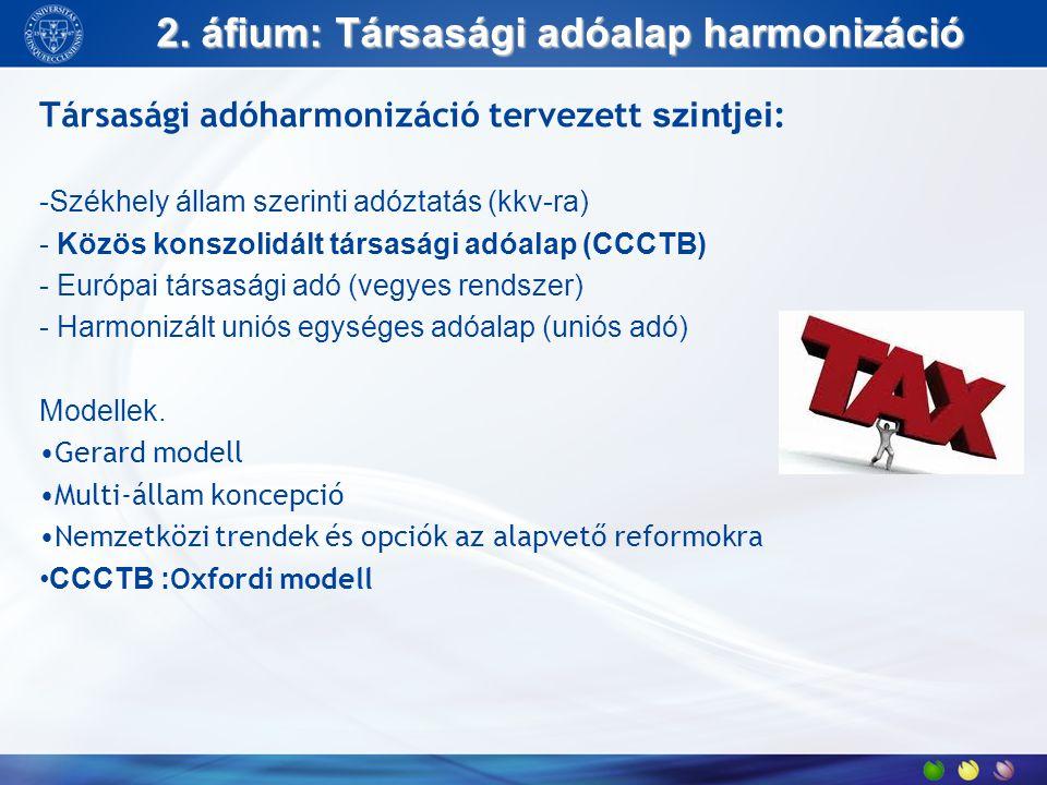 2. áfium: Társasági adóalap harmonizáció Társasági adóharmonizáció tervezett szintjei : -Székhely állam szerinti adóztatás (kkv-ra) - Közös konszolidá