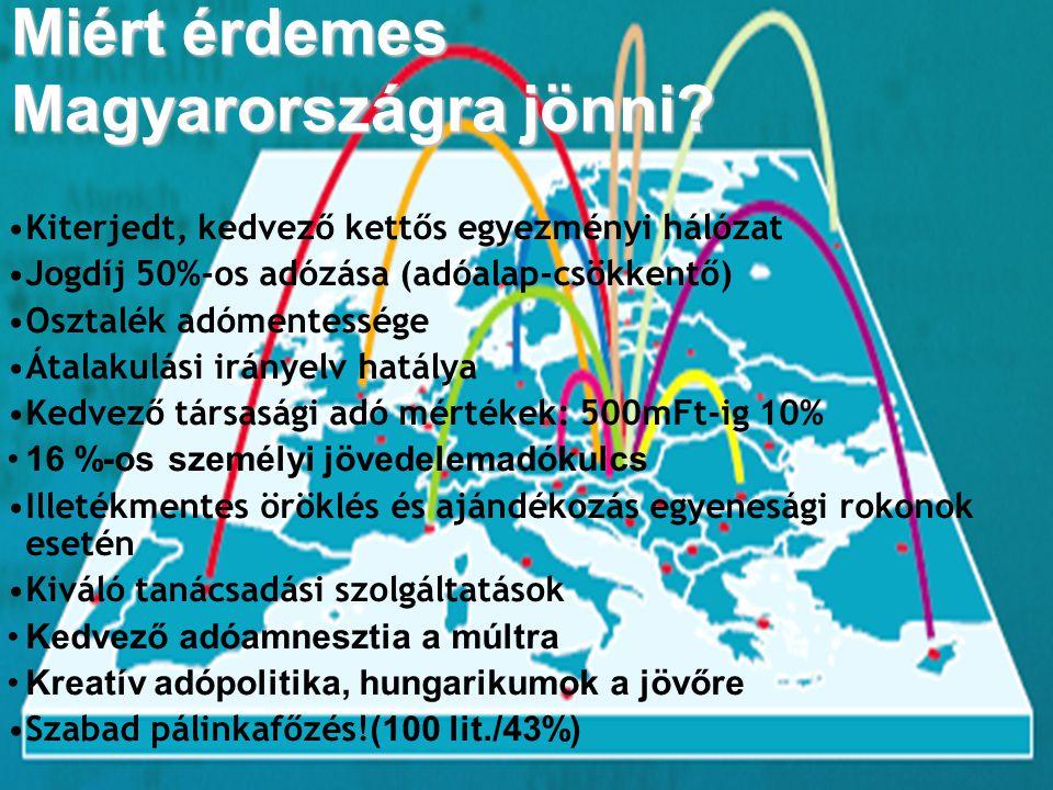 Miért érdemes Magyarországra jönni? Kiterjedt, kedvező kettős egyezményi hálózat Jogdíj 50%-os adózása (adóalap-csökkentő) Osztalék adómentessége Átal