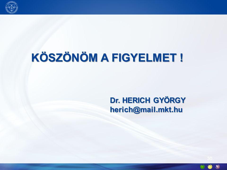 30. KÖSZÖNÖM A FIGYELMET ! Dr. HERICH GYÖRGY herich@mail.mkt.hu