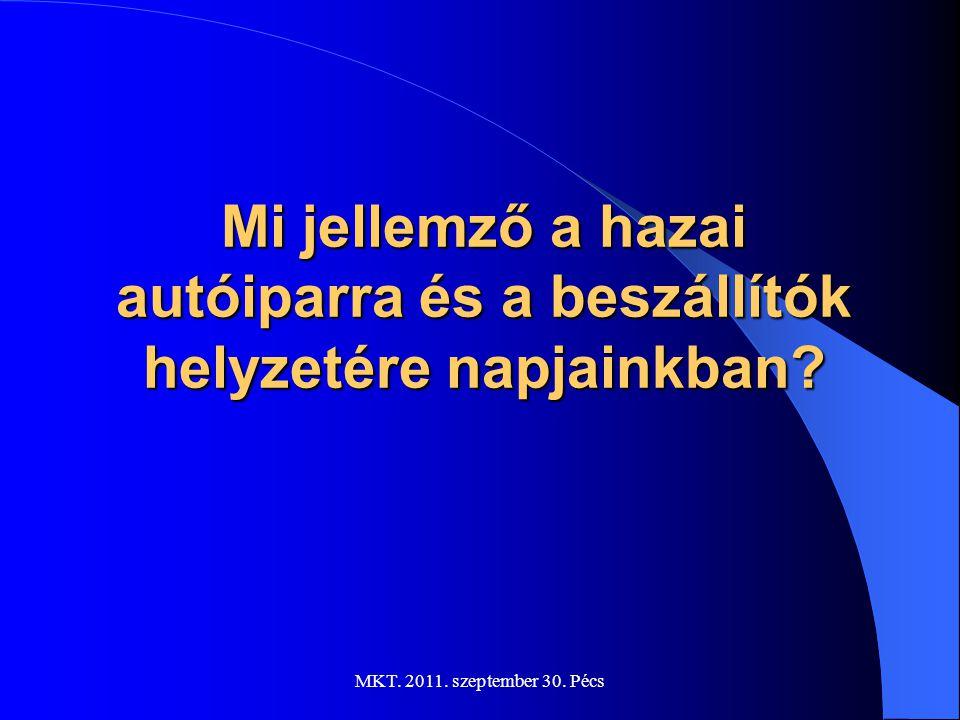A magyar közúti járműipar főbb adatai: Cégek száma: ~ 360-380 Foglalkoztatottak száma: ~ 100.000 fő Árbevétel:  2900 milliárd Ft.