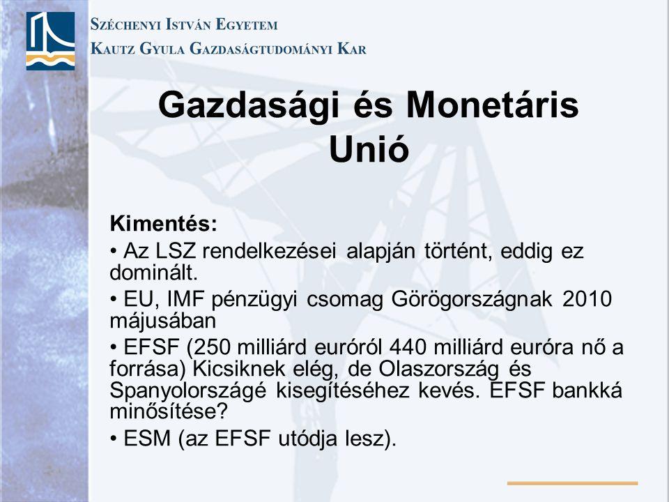 Gazdasági és Monetáris Unió Kimentés: Az LSZ rendelkezései alapján történt, eddig ez dominált. EU, IMF pénzügyi csomag Görögországnak 2010 májusában E