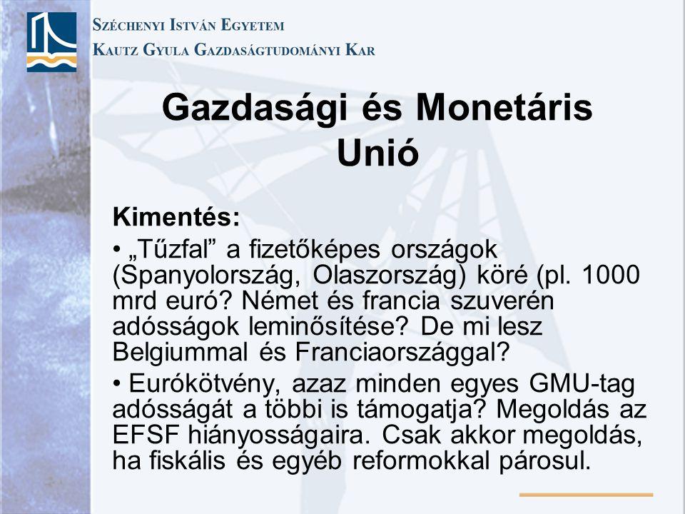 """Gazdasági és Monetáris Unió Kimentés: """"Tűzfal"""" a fizetőképes országok (Spanyolország, Olaszország) köré (pl. 1000 mrd euró? Német és francia szuverén"""
