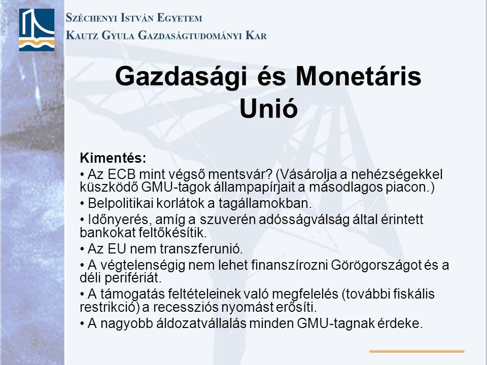 Gazdasági és Monetáris Unió Kimentés: Az ECB mint végső mentsvár? (Vásárolja a nehézségekkel küszködő GMU-tagok állampapírjait a másodlagos piacon.) B