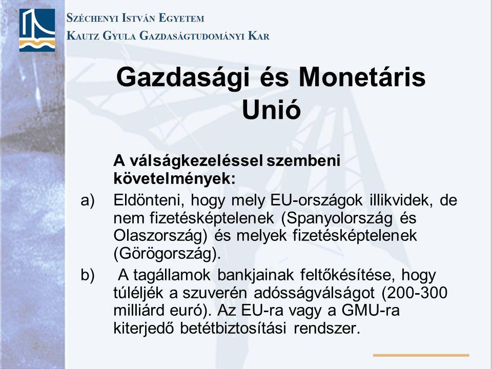 Gazdasági és Monetáris Unió A válságkezeléssel szembeni követelmények: a)Eldönteni, hogy mely EU-országok illikvidek, de nem fizetésképtelenek (Spanyo
