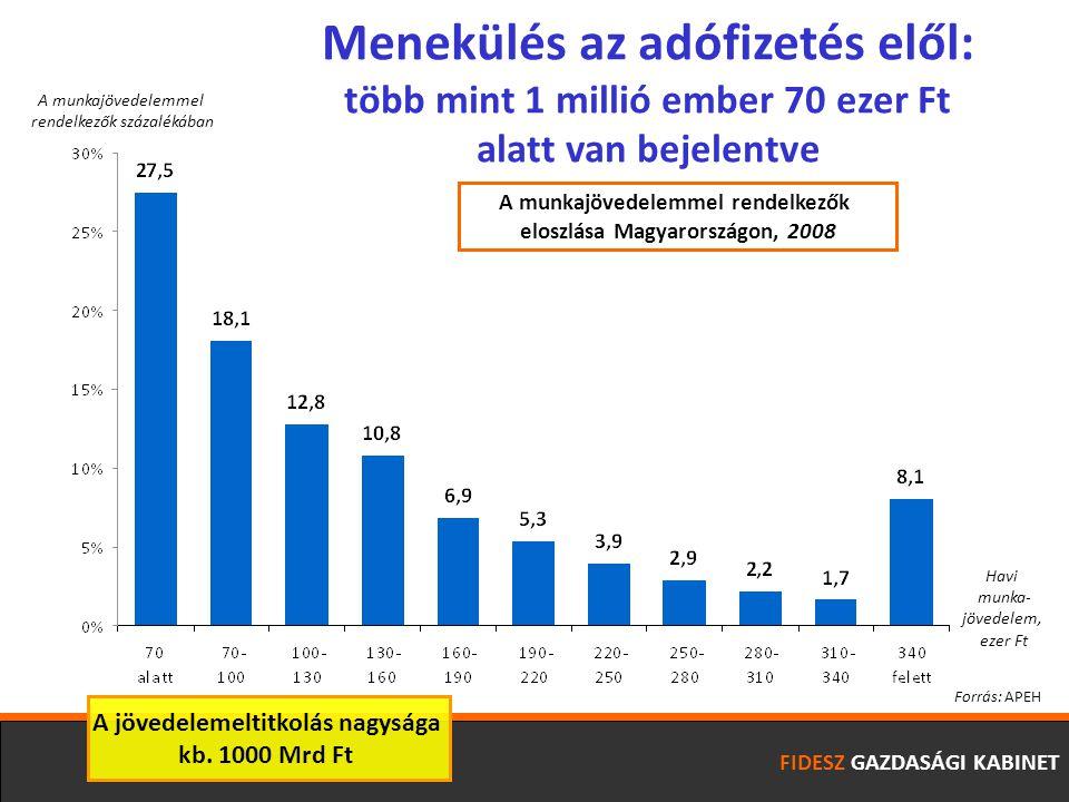 FIDESZ GAZDASÁGI KABINET Havi munka- jövedelem, ezer Ft A munkajövedelemmel rendelkezők százalékában Menekülés az adófizetés elől: több mint 1 millió ember 70 ezer Ft alatt van bejelentve Forrás: APEH A munkajövedelemmel rendelkezők eloszlása Magyarországon, 2008 A jövedelemeltitkolás nagysága kb.