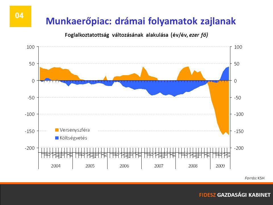 FIDESZ GAZDASÁGI KABINET 04 Munkaerőpiac: drámai folyamatok zajlanak Forrás: KSH Foglalkoztatottság változásának alakulása (év/év, ezer fő)