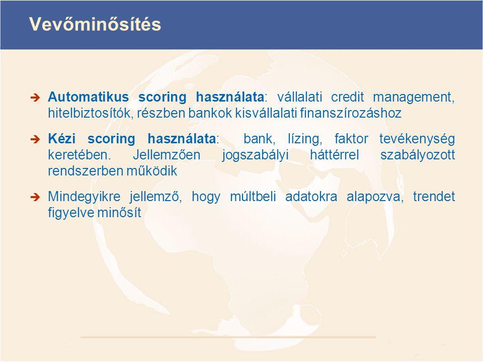 Vevőminősítés  Automatikus scoring használata: vállalati credit management, hitelbiztosítók, részben bankok kisvállalati finanszírozáshoz  Kézi scor