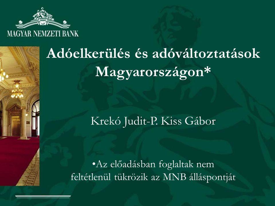 Adóelkerülés és adóváltoztatások Magyarországon* Krekó Judit-P. Kiss Gábor Az előadásban foglaltak nem feltétlenül tükrözik az MNB álláspontját