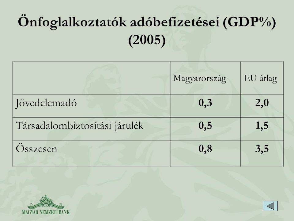 Önfoglalkoztatók adóbefizetései (GDP%) (2005) MagyarországEU átlag Jövedelemadó0,32,0 Társadalombiztosítási járulék0,51,5 Összesen0,83,5