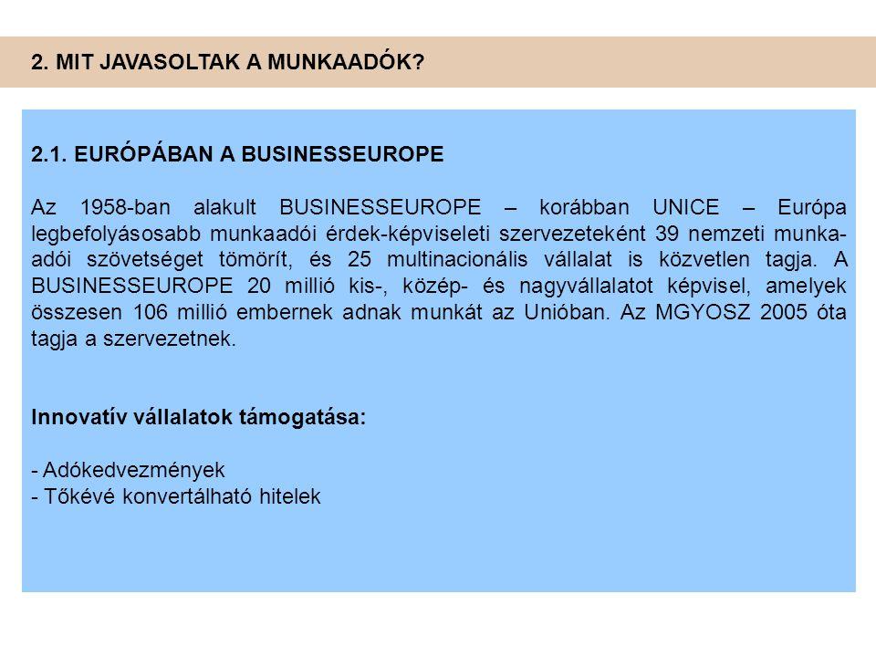 2. MIT JAVASOLTAK A MUNKAADÓK? 2.1. EURÓPÁBAN A BUSINESSEUROPE Az 1958-ban alakult BUSINESSEUROPE – korábban UNICE – Európa legbefolyásosabb munkaadói