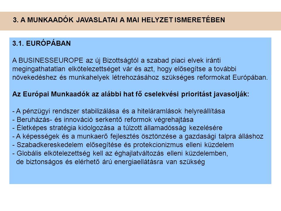 3. A MUNKAADÓK JAVASLATAI A MAI HELYZET ISMERETÉBEN 3.1. EURÓPÁBAN A BUSINESSEUROPE az új Bizottságtól a szabad piaci elvek iránti megingathatatlan el