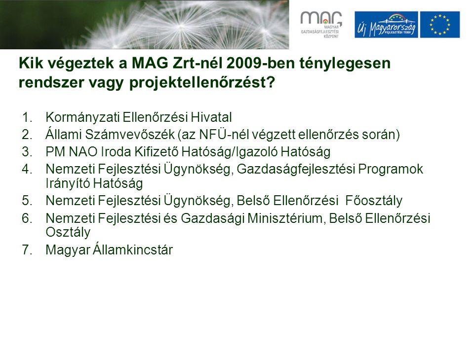Kik végeztek a MAG Zrt-nél 2009-ben ténylegesen rendszer vagy projektellenőrzést? 1.Kormányzati Ellenőrzési Hivatal 2.Állami Számvevőszék (az NFÜ-nél