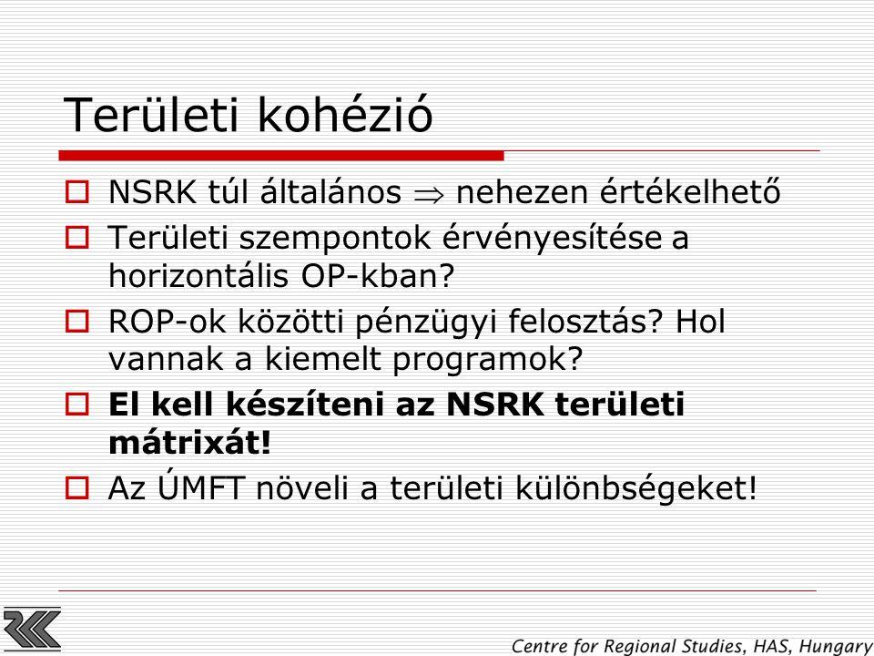 Területi kohézió  NSRK túl általános  nehezen értékelhető  Területi szempontok érvényesítése a horizontális OP-kban.