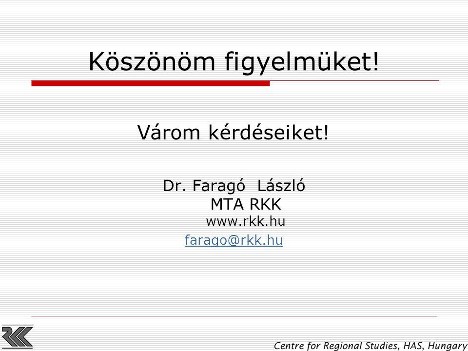 Köszönöm figyelmüket! Várom kérdéseiket! Dr. Faragó László MTA RKK www.rkk.hu farago@rkk.hu