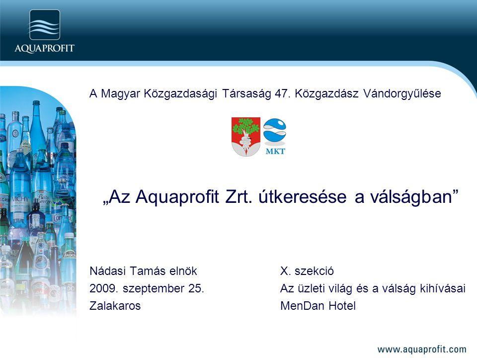"""A Magyar Közgazdasági Társaság 47. Közgazdász Vándorgyűlése """"Az Aquaprofit Zrt. útkeresése a válságban"""" Nádasi Tamás elnökX. szekció 2009. szeptember"""