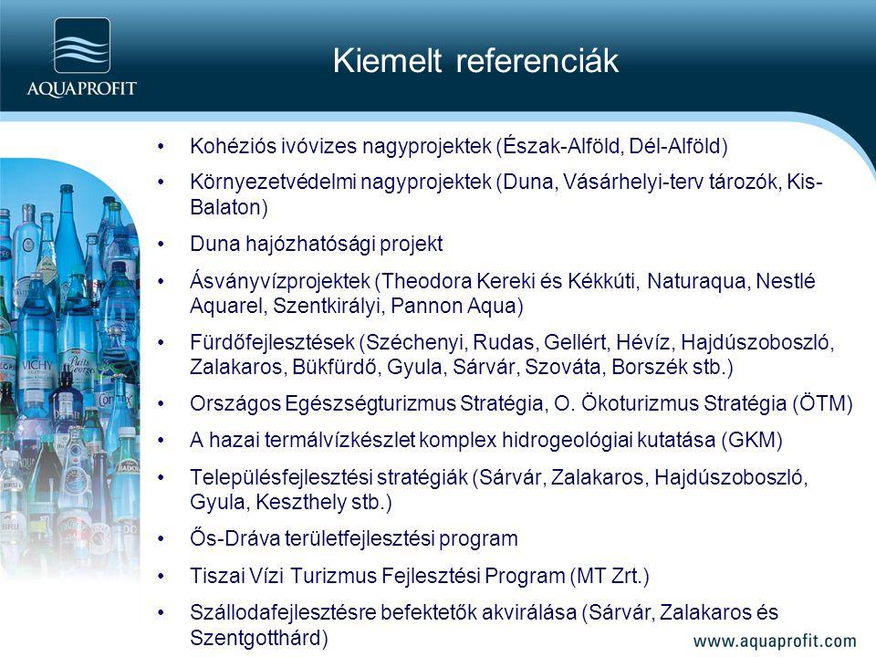 Kiemelt referenciák Kohéziós ivóvizes nagyprojektek (Észak-Alföld, Dél-Alföld) Környezetvédelmi nagyprojektek (Duna, Vásárhelyi-terv tározók, Kis- Bal