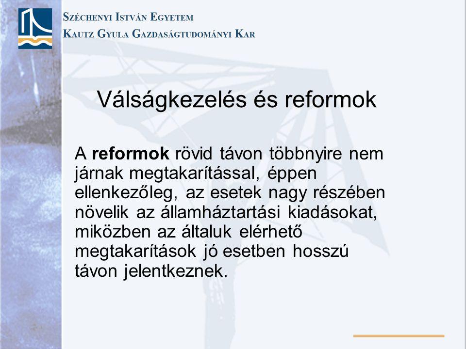 Válságkezelés és reformok A reformok rövid távon többnyire nem járnak megtakarítással, éppen ellenkezőleg, az esetek nagy részében növelik az államház