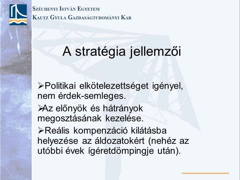 A stratégia jellemzői  Politikai elkötelezettséget igényel, nem érdek-semleges.  Az előnyök és hátrányok megosztásának kezelése.  Reális kompenzáci