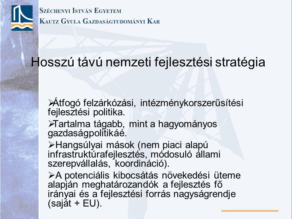 Hosszú távú nemzeti fejlesztési stratégia  Átfogó felzárkózási, intézménykorszerűsítési fejlesztési politika.