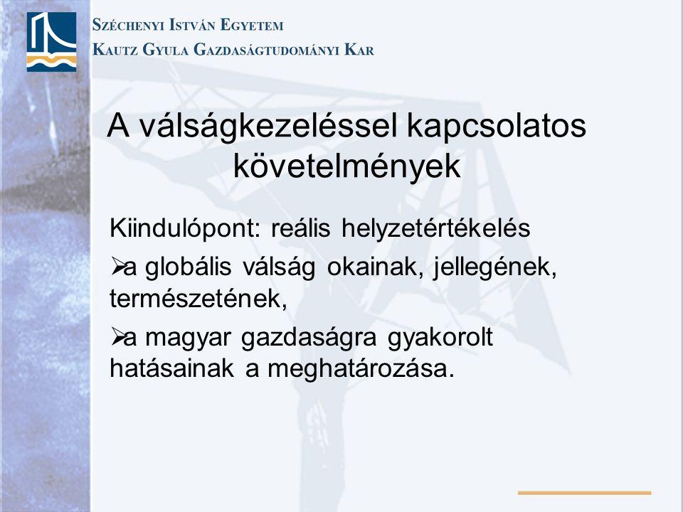 A válságkezeléssel kapcsolatos követelmények Kiindulópont: reális helyzetértékelés  a globális válság okainak, jellegének, természetének,  a magyar gazdaságra gyakorolt hatásainak a meghatározása.