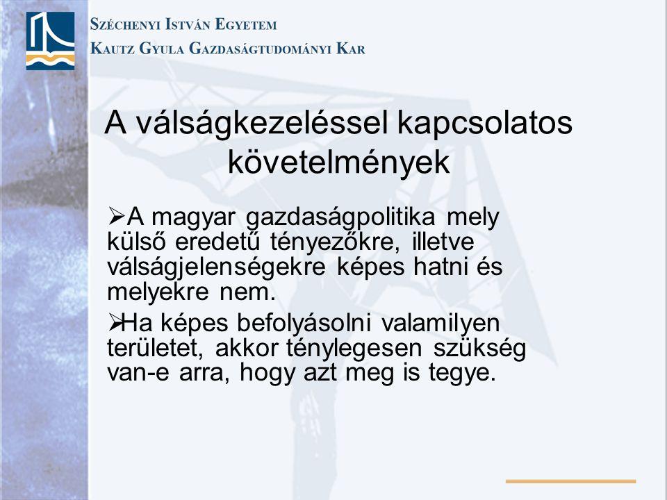 A válságkezeléssel kapcsolatos követelmények  A magyar gazdaságpolitika mely külső eredetű tényezőkre, illetve válságjelenségekre képes hatni és mely