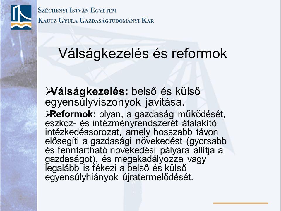 Válságkezelés és reformok  Válságkezelés: belső és külső egyensúlyviszonyok javítása.  Reformok: olyan, a gazdaság működését, eszköz- és intézményre