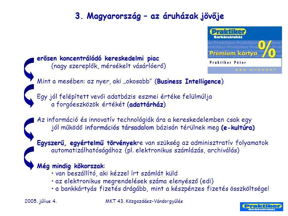 2005. július 4.MKT 43. Közgazdász-Vándorgyűlés 3. Magyarország – az áruházak jövője erősen koncentrálódó kereskedelmi piac (nagy szereplők, mérsékelt
