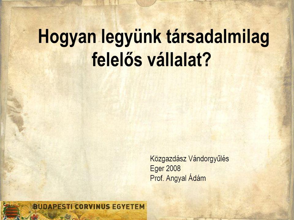 Hogyan legyünk társadalmilag felelős vállalat Közgazdász Vándorgyűlés Eger 2008 Prof. Angyal Ádám