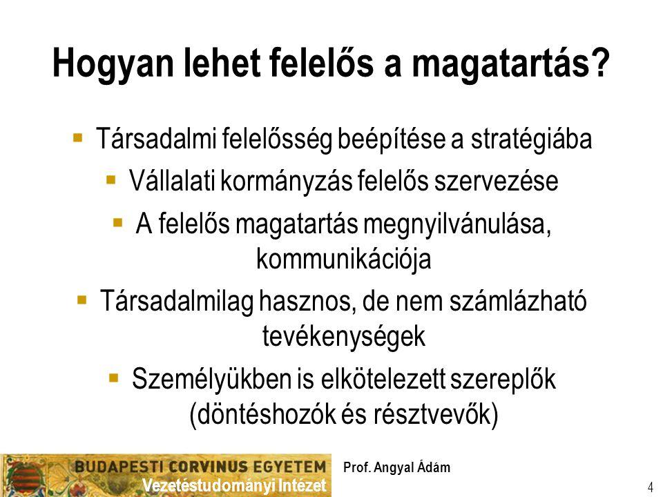 Vezetéstudományi Intézet Prof. Angyal Ádám 4 Hogyan lehet felelős a magatartás.