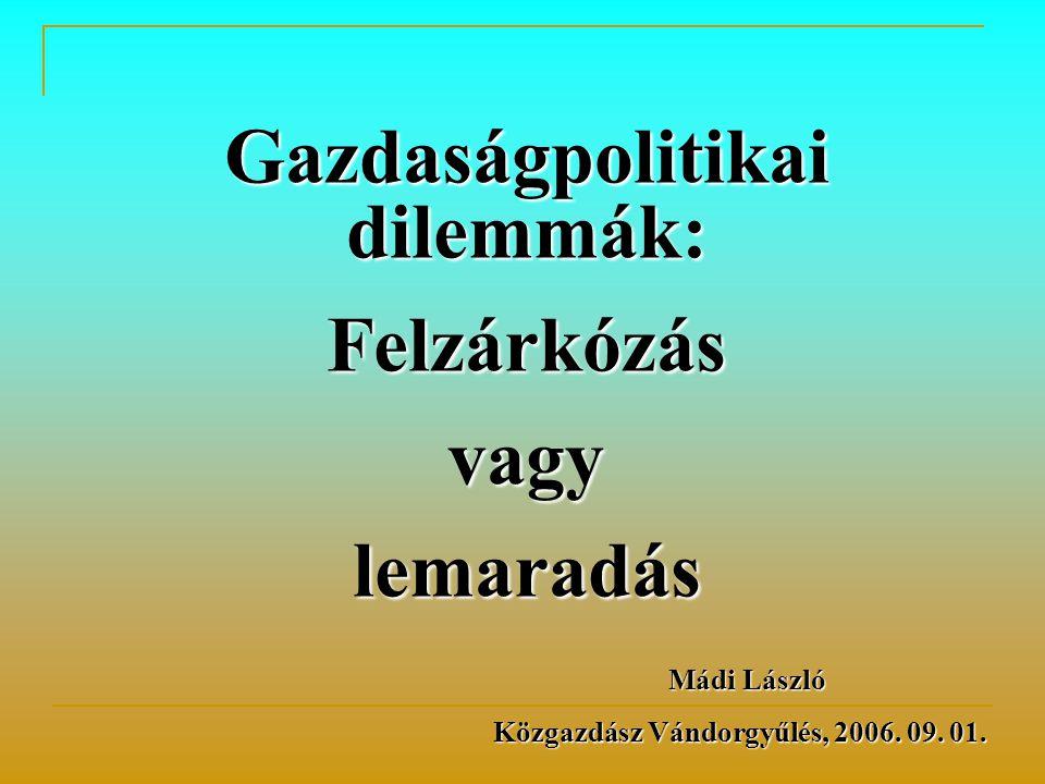 Gazdaságpolitikai dilemmák: Felzárkózásvagylemaradás Mádi László Mádi László Közgazdász Vándorgyűlés, 2006. 09. 01.