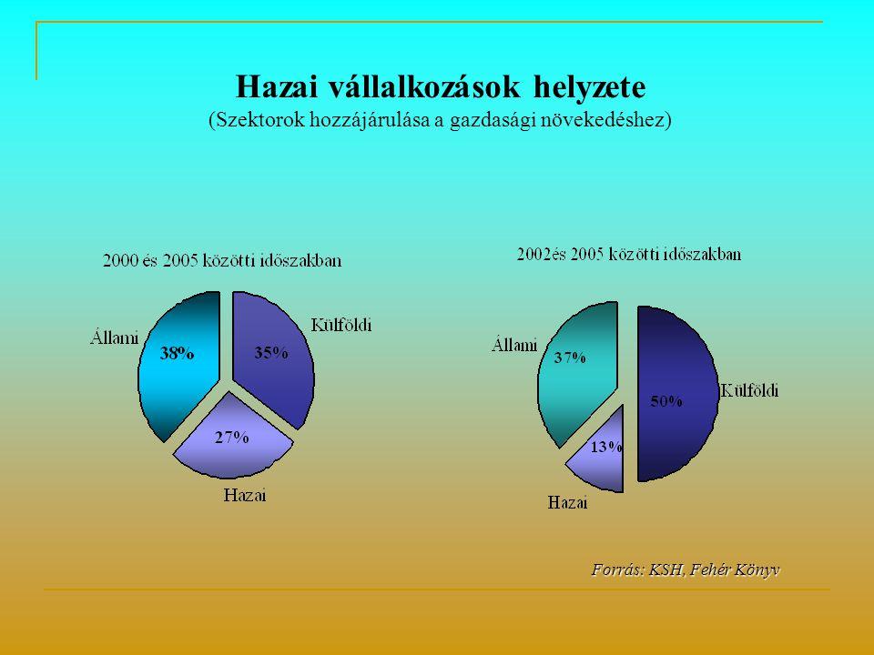 Forrás: KSH, Fehér Könyv Forrás: KSH, Fehér Könyv Hazai vállalkozások helyzete (Szektorok hozzájárulása a gazdasági növekedéshez)