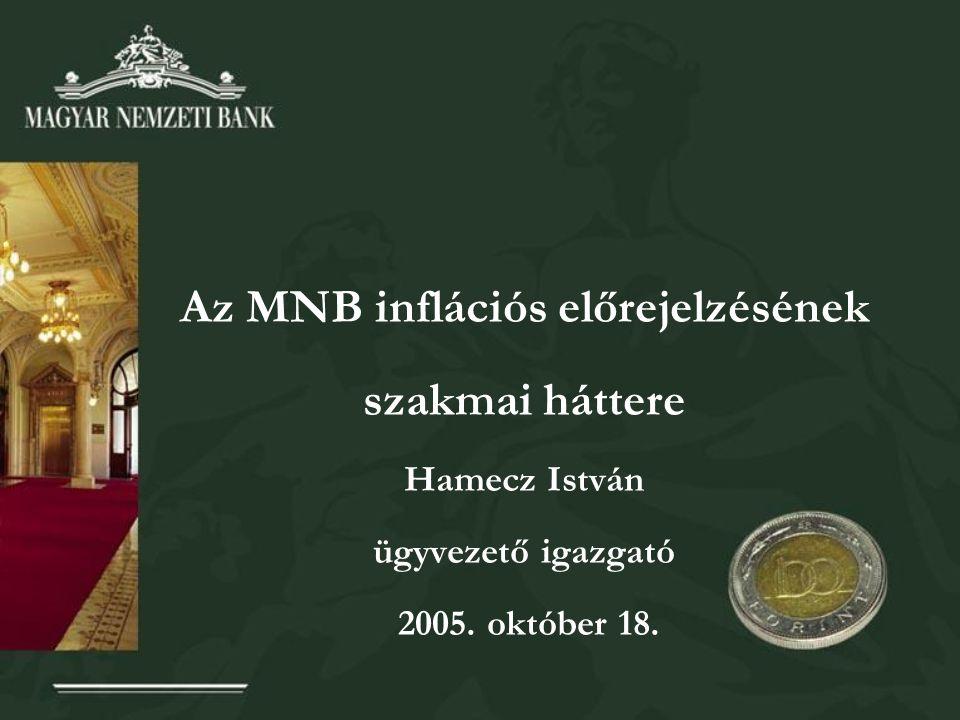 Az MNB inflációs előrejelzésének szakmai háttere Hamecz István ügyvezető igazgató 2005. október 18.
