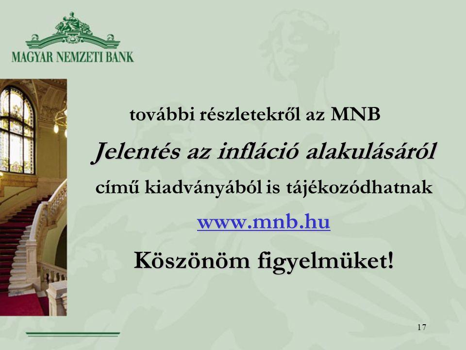 17 Jelentés az infláció alakulásáról www.mnb.hu Köszönöm figyelmüket.