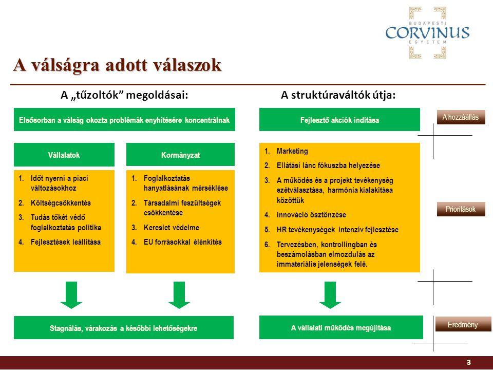 A válságra adott válaszok Fejlesztő akciók indításaElsősorban a válság okozta problémák enyhítésére koncentrálnak Vállalatok Kormányzat 1.Időt nyerni a piaci változásokhoz 2.Költségcsökkentés 3.Tudás tőkét védő foglalkoztatás politika 4.Fejlesztések leállítása 1.Foglalkoztatás hanyatlásának mérséklése 2.Társadalmi feszültségek csökkentése 3.Kereslet védelme 4.EU forrásokkal élénkítés 1.Marketing 2.Ellátási lánc fókuszba helyezése 3.A működés és a projekt tevékenység szétválasztása, harmónia kialakítása közöttük 4.Innováció ösztönzése 5.HR tevékenységek intenzív fejlesztése 6.Tervezésben, kontrollingban és beszámolásban elmozdulás az immateriális jelenségek felé.