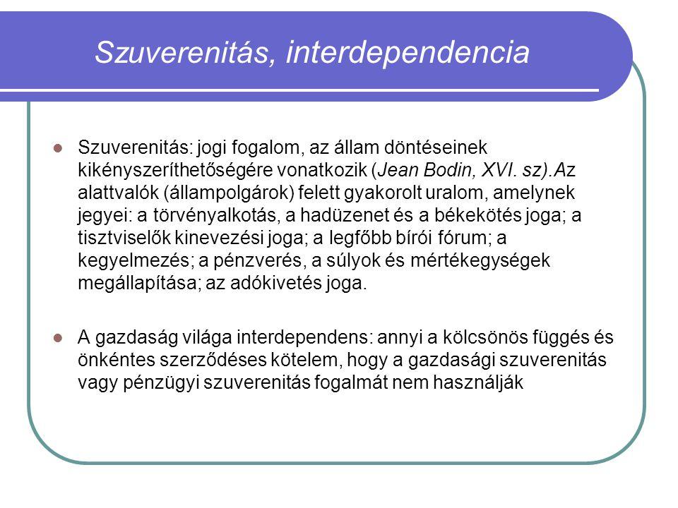 Szuverenitás, interdependencia Szuverenitás: jogi fogalom, az állam döntéseinek kikényszeríthetőségére vonatkozik (Jean Bodin, XVI.