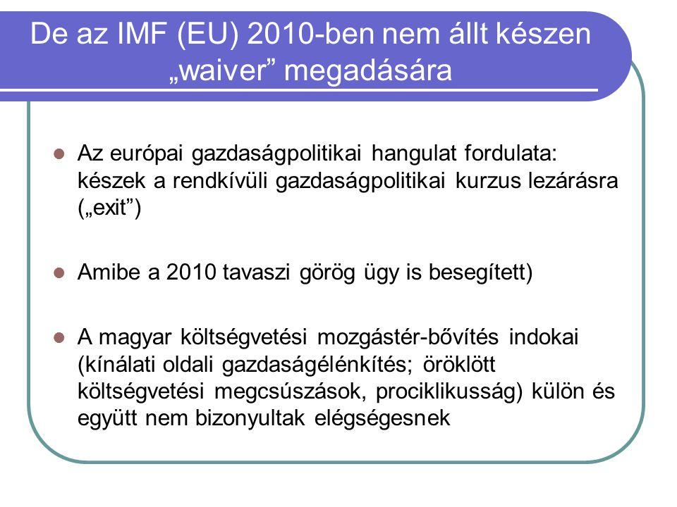 """De az IMF (EU) 2010-ben nem állt készen """"waiver megadására Az európai gazdaságpolitikai hangulat fordulata: készek a rendkívüli gazdaságpolitikai kurzus lezárásra (""""exit ) Amibe a 2010 tavaszi görög ügy is besegített) A magyar költségvetési mozgástér-bővítés indokai (kínálati oldali gazdaságélénkítés; öröklött költségvetési megcsúszások, prociklikusság) külön és együtt nem bizonyultak elégségesnek"""