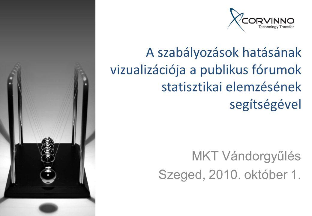 A szabályozások hatásának vizualizációja a publikus fórumok statisztikai elemzésének segítségével MKT Vándorgyűlés Szeged, 2010.