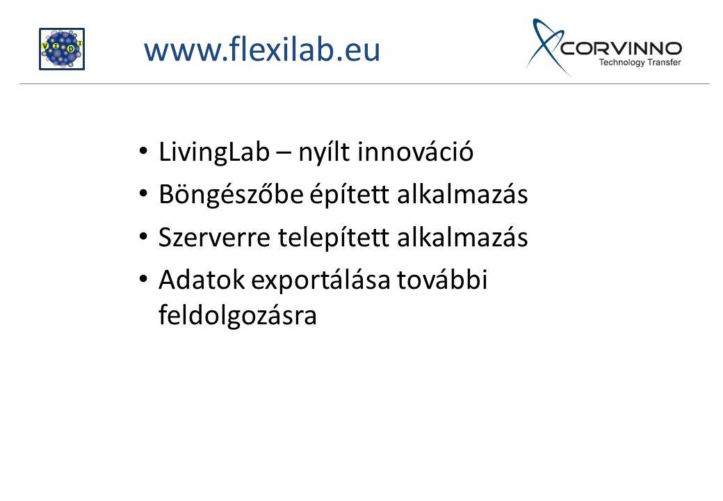 www.flexilab.eu LivingLab – nyílt innováció Böngészőbe épített alkalmazás Szerverre telepített alkalmazás Adatok exportálása további feldolgozásra