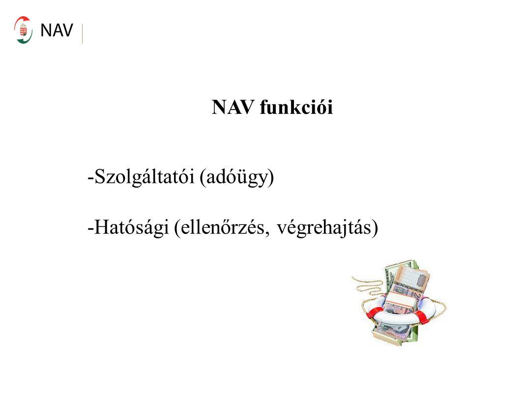 NAV funkciói -Szolgáltatói (adóügy) -Hatósági (ellenőrzés, végrehajtás)