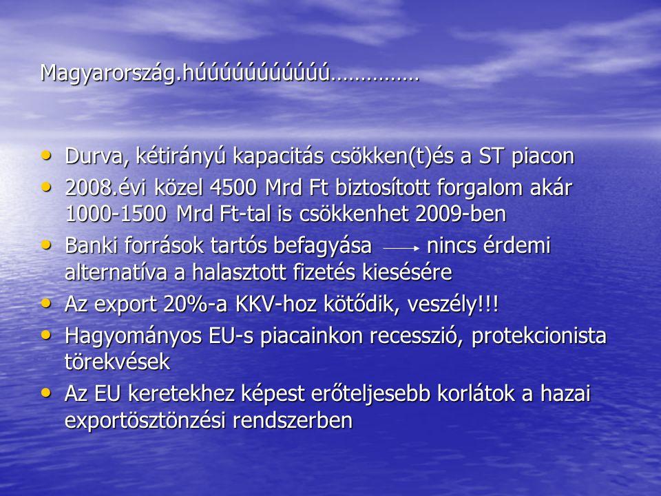 Magyarország.húúúúúúúúúúú…………… Durva, kétirányú kapacitás csökken(t)és a ST piacon Durva, kétirányú kapacitás csökken(t)és a ST piacon 2008.évi közel 4500 Mrd Ft biztosított forgalom akár 1000-1500 Mrd Ft-tal is csökkenhet 2009-ben 2008.évi közel 4500 Mrd Ft biztosított forgalom akár 1000-1500 Mrd Ft-tal is csökkenhet 2009-ben Banki források tartós befagyása nincs érdemi alternatíva a halasztott fizetés kiesésére Banki források tartós befagyása nincs érdemi alternatíva a halasztott fizetés kiesésére Az export 20%-a KKV-hoz kötődik, veszély!!.